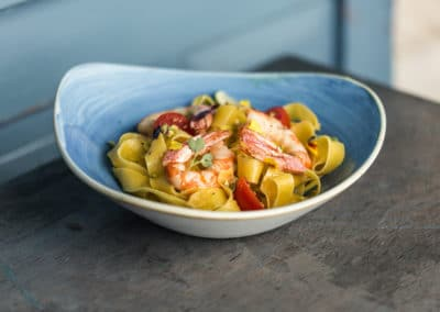 Pappardelle with Prawns, Pistachio, Lime and Chili