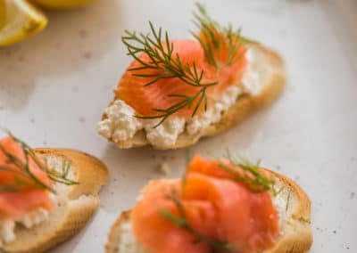 Salmon Cicchetti with Irkotta, Dill and Lemon